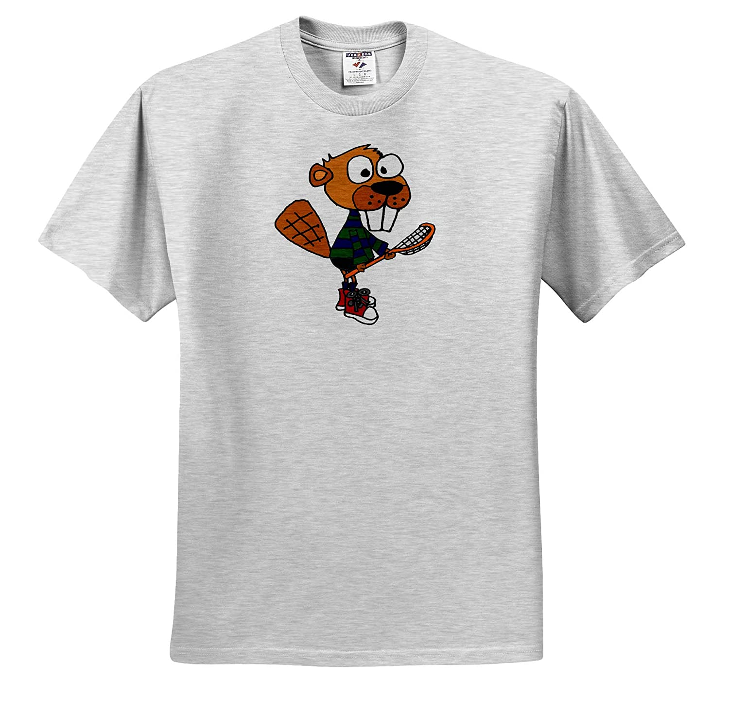 ts/_319332 3dRose All Smiles Art Funny Cute Beaver Playing Lacrosse Sports Cartoon Adult T-Shirt XL Sports and Hobbies