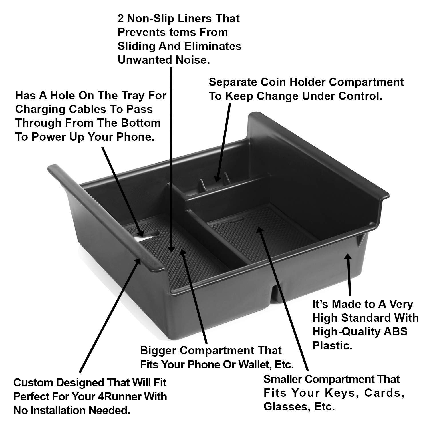 Lebogner Center Console Storage Tray Organizer Compatible With Toyota 4Runner All Models Of Fifth Generation 2010-2020 Armrest Console Secondary Accessories Box With Coin Container /& Glasses Holder