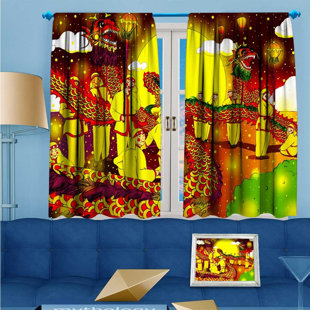 SCOCICI1588 Room Darkening/Thermal Insulated Rod Pocket Window Curtains Lantern Festival Dragon Dance Set of Two Panels W104'' x L84'' Pair