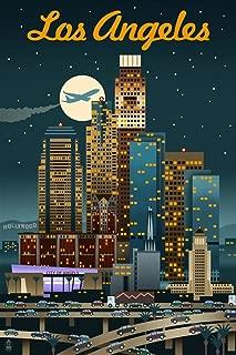 product image for Los Angeles, California - Retro Skyline (9x12 Art Print, Wall Decor Travel Poster)