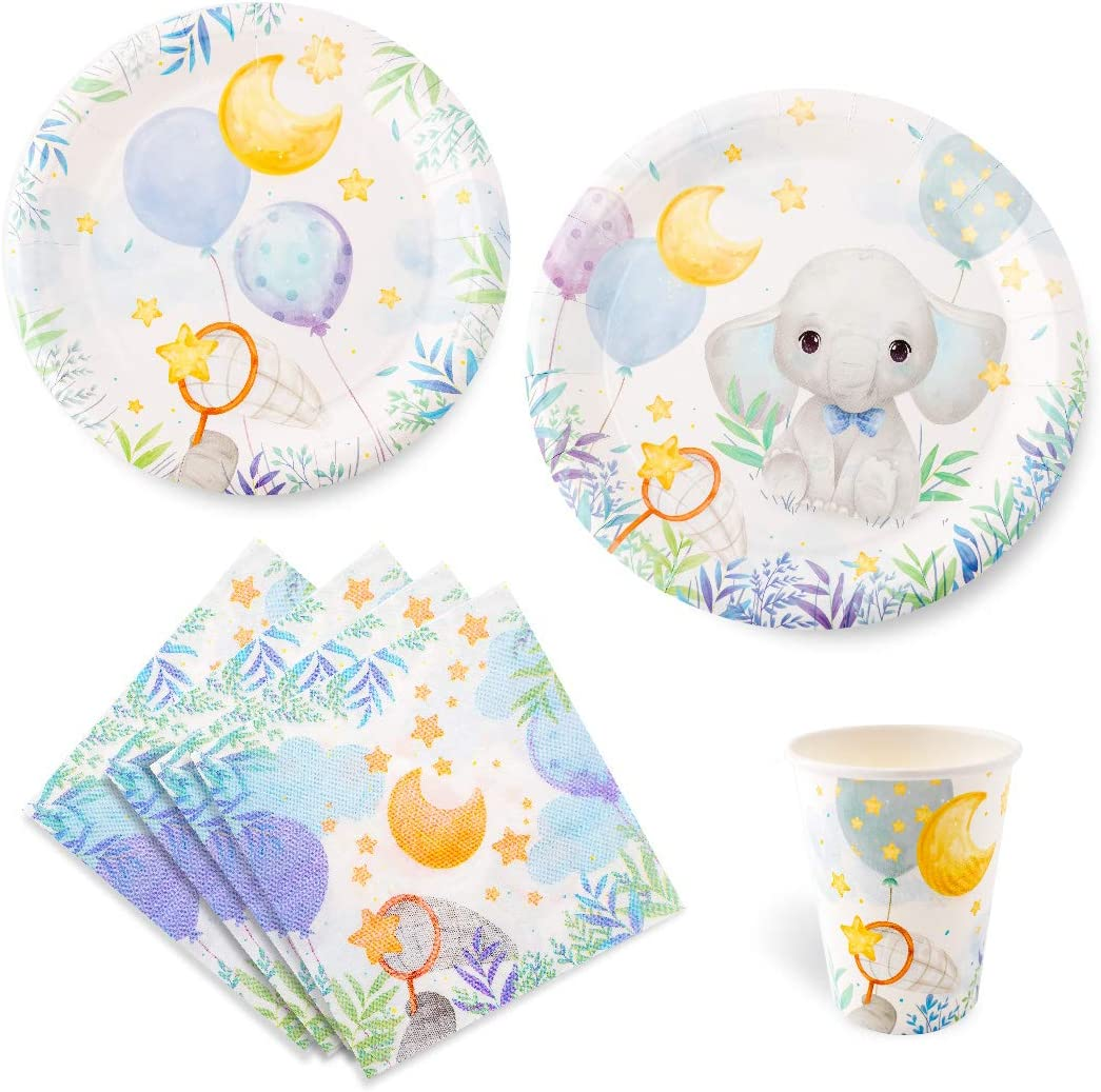 Baby Elephant Boy Shower Party Supplies 16 Guests, Set Include Large Dinner Plates, Small Dessert Plates, Cups, Napkins | Baby Shower for Boys with Blue and Grey Elephant Design