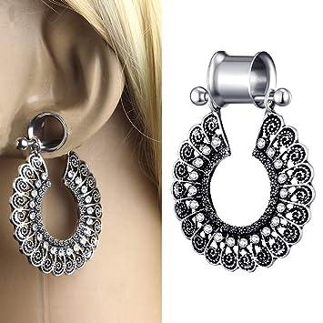 1 Pares Expansores Ear Flesh Túnel Dilatación Colgante Tipo Plug Acero Inoxidable Pendientes Mujer Hombre 4mm-25mm: Amazon.es: Hogar