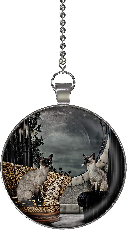 Gotham Decor Siamese Cats Fan//Light Pull Pendant with Chain