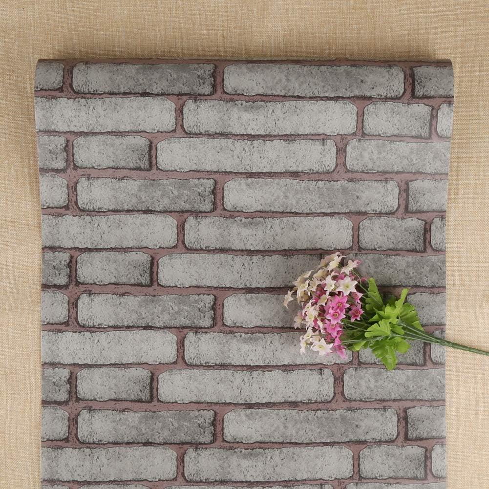 FENTIS Grigio Carta da Parete Adesivo Carta da Parete Decorativa Contatto Auto-Adesivo Motivo di Mattone Vintage Ruolo per Decorazione di Casa Affitta 45 * 500cm Rimuovibile