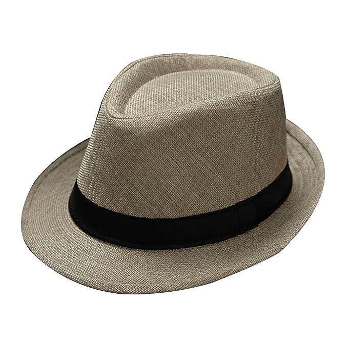 1bf618f2d5fcc hujukuludusu Men s Summer Straw Hats Beach Cap Fedora Sun Hat Trilby Panama  Jazz Hat (Beige)  Amazon.ca  Clothing   Accessories