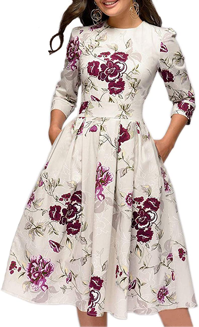 Simple Flavor Women's Floral Vintage Dress Elegant Midi Evening Dress 3/4 Sleeves