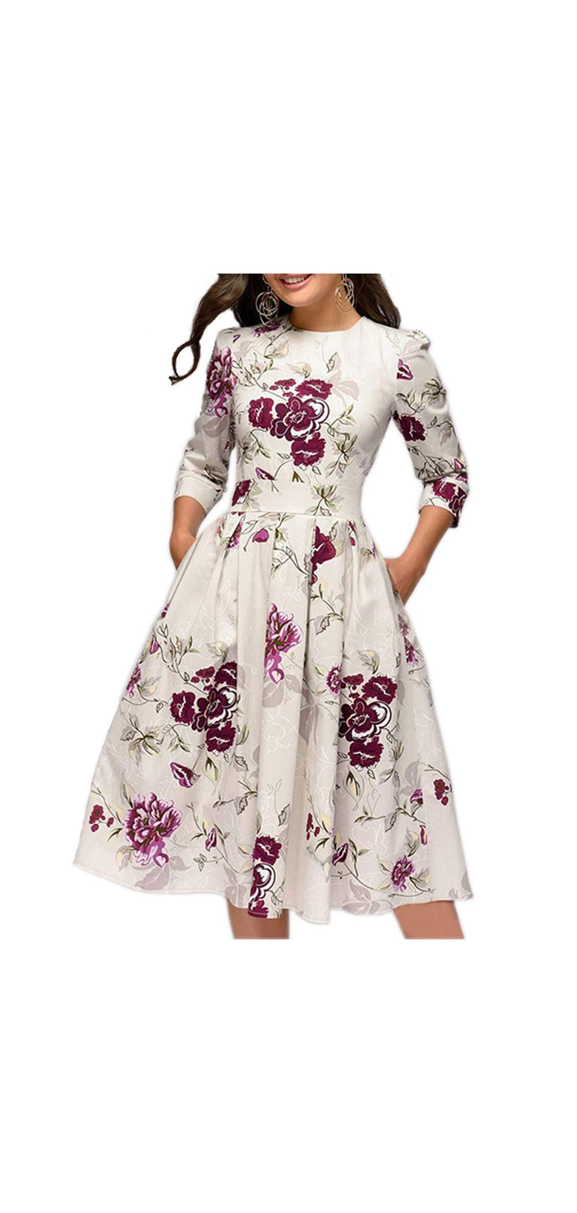 Women's Floral Vintage Dress Elegant Midi Evening