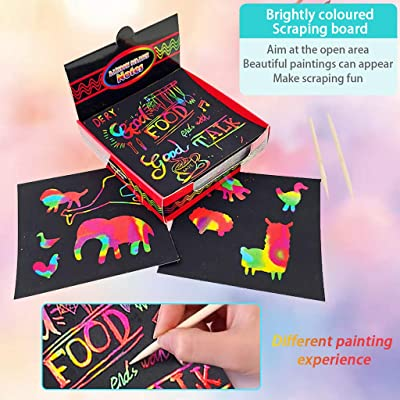 Fineday Education Toy, Scratch Notes Set Scratch Doodle Art with 100 Holographic Rainbow Paper,2 Stylus, Toys and Hobbies Products HotSales (A): Garden & Outdoor