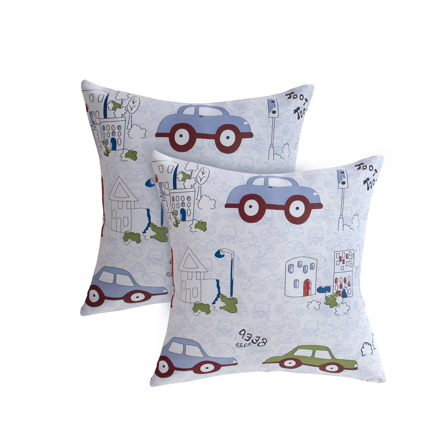 BGment Cartoon Car Pillow Cases Cushion Cover Home Pillowcase Soft Bed Square Pillowcover Set of 2, Size 18 x 18 Inch BGment Hometex