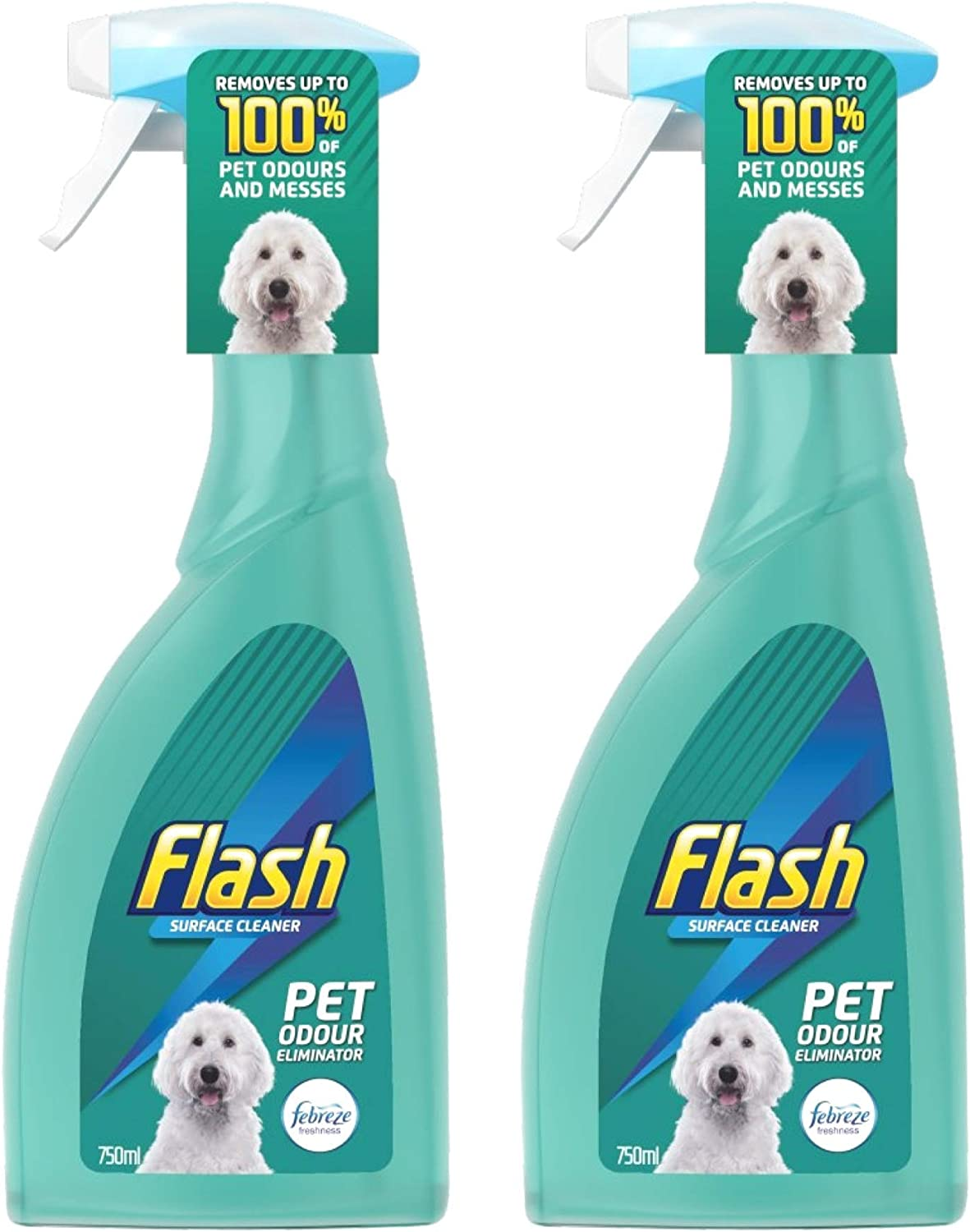Flash Limpiador de superficies en spray eliminador de olores de mascotas, 750 ml, paquete de 2