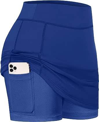 Blevonh Women Tennis Skirts Inner Shorts Elastic Sports Golf Skorts with Pockets