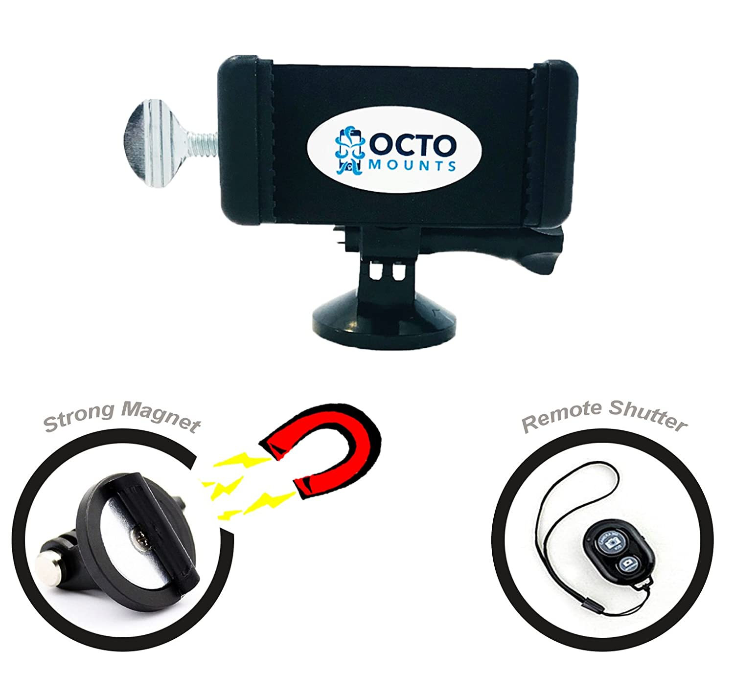 OCTO MOUNTS | Universal Smartphone Holder w/GoPro Style Mount Adapter and Magnet Tripod Mount. Includes Remote Shutter. Connect Your Cellphone to Any GoPro Accessory or Use as a Tripod on Metal.