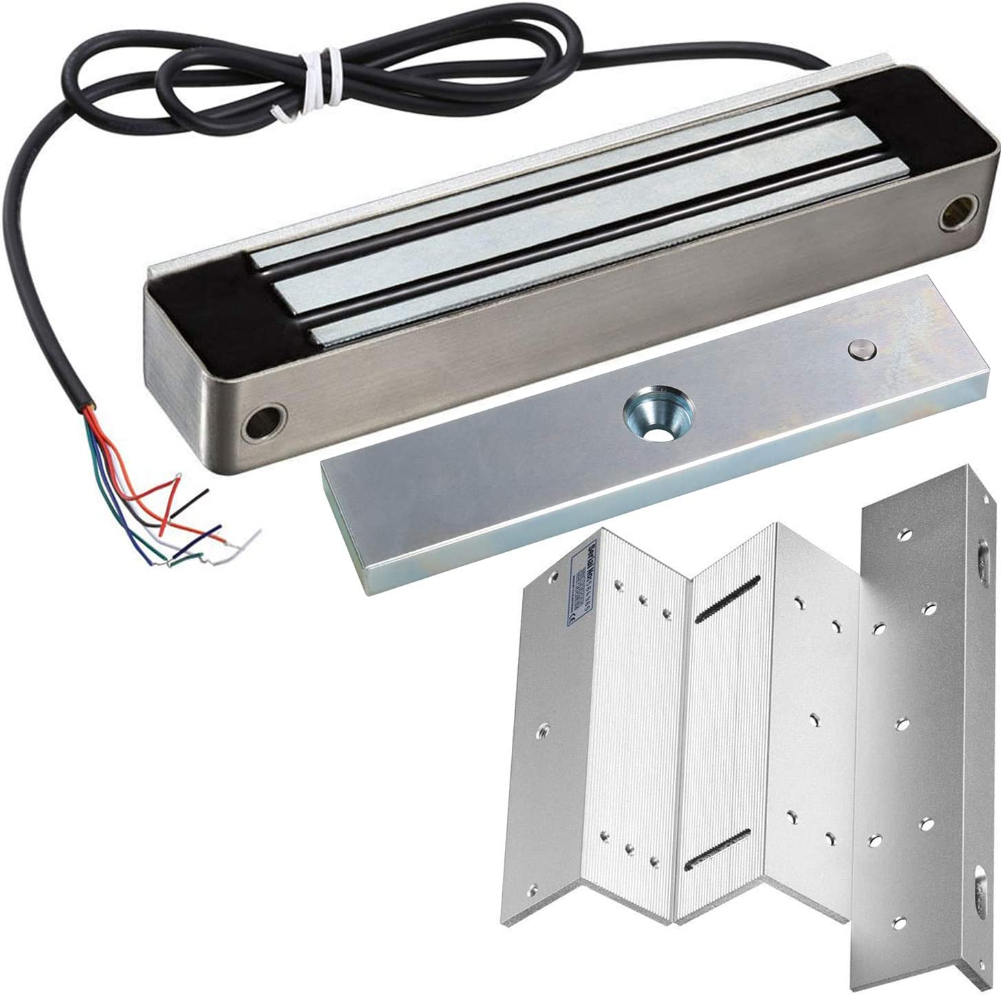 UHPPOTE 600lb Holding Force Outdoor Electric Magnetic Gate Lock with Mount Bracket for Inswinging Door