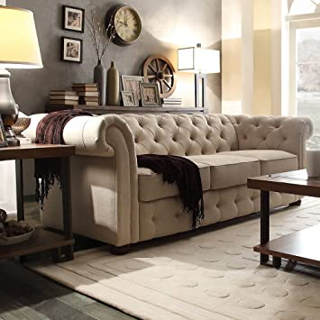 Tribecca Home Knightsbridge Beige Linen Tufted Scroll Arm Chesterfield Sofa.  Showcasing Tufted Back And Rolled