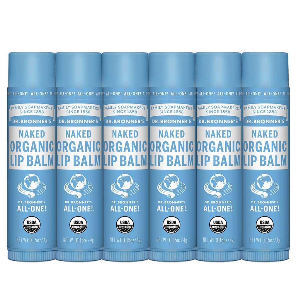 Dr. Bronner's - Organic Lip Balm (Naked, .15 ounce, 6-Pack) - Unscented, Made with Organic Beeswax and Avocado Oil, For Dry Lips, Hands, Chin or Cheeks, Jojoba Oil for Added Moisture, Soothing by Dr. Bronner's