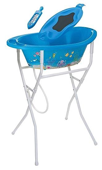 Rotho Babydesign Bath Set with Bath Tub and Adjustable Stand 0-12 Months Rose,