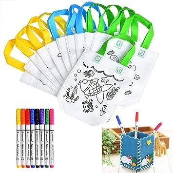 Queta Bolsas para Colorear DIY Bolsas Infantiles para Colorear 12 Diferentes Diseño + 8 bolígrafos Textiles + DIY Titular de la Pluma Regalo niños ...