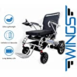 Lightweight Folding Electric Wheelchair - Ultra Portable Foldable Power Motorized Scooter Chair - Extra Wide 19.6