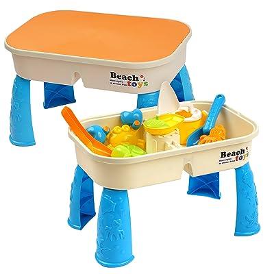 Niños Mesa para Arena y Agua con Tapa - con 8 Juguetes de Playa y Espacio para Arena y Agua - mesita incluidos plástico Compartimento para Tablas Juegos, Actividades para Infantiles: Juguetes y juegos