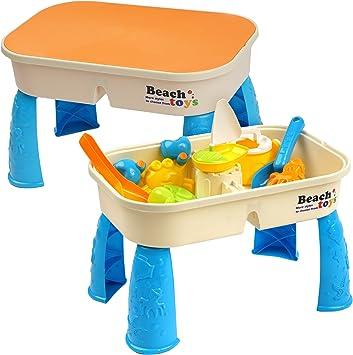 Niños Mesa para Arena y Agua con Tapa - con 8 Juguetes de Playa y ...