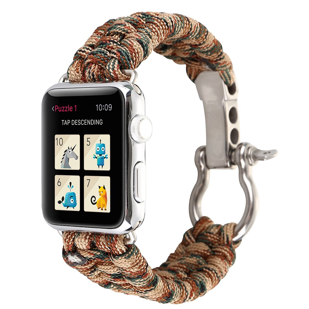 Amazon.com: PINHEN for Apple Watch Series 4 Band - Lifesaving Wristband Sport Outdoor Adjustable Strap for iWatch Series 4/3/2/1 (Camouflage Blue, ...