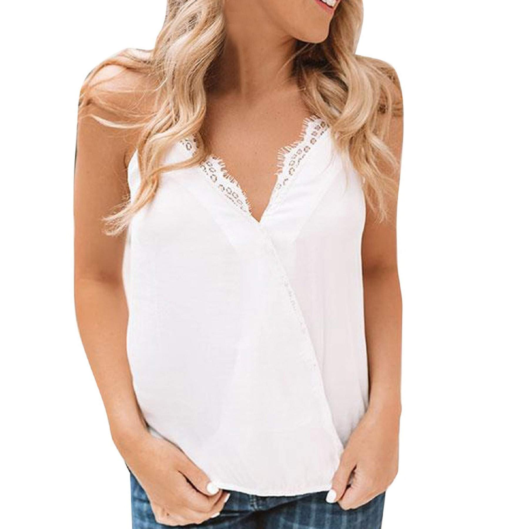 Women Summer Sleeveless Lace Wrap Camisole Top Plain Strappy Vest Top Blouse Casual V Neck Tank Top White