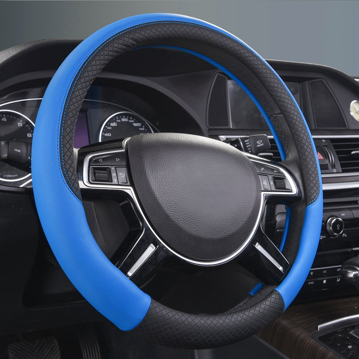 Black And Black CAR PASS NEW ARRIVAL Rhombus Leather Universal Steering Wheel Cover fit for vehicles,Suv