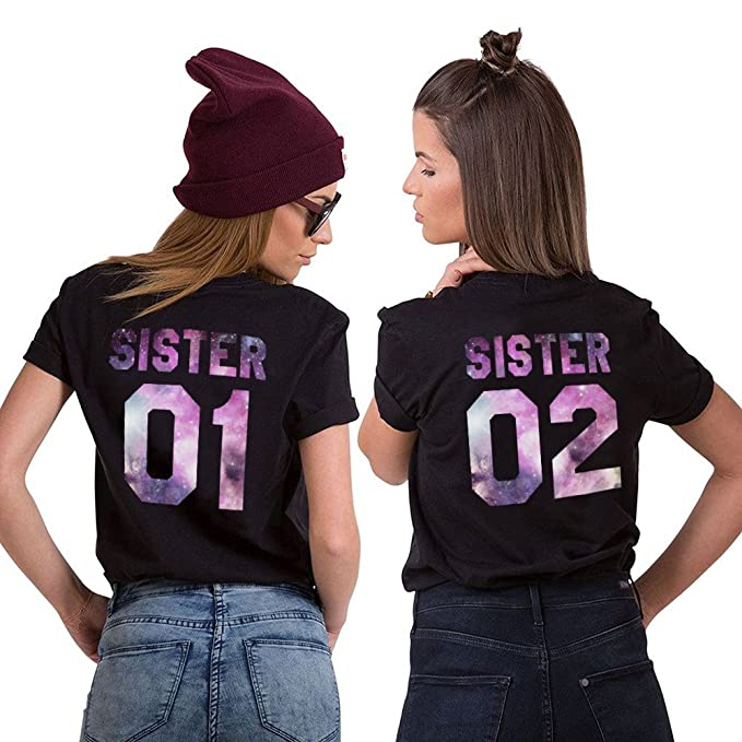 688ad070d Best Friends Shirts Two Girls T Shirt Print Sister 01 02 Shirt 2 Pieces  Short Sleeve