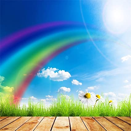 green grass blue sky flowers full hd aofoto 5x5ft spring sunny photography backdrop rainbow green grass background blue sky white cloud floret flower amazoncom