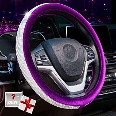 Alusbell Crystal Diamond Steering Wheel Cover Soft Velvet Feel Bling Steering Wheel Cover for Women Universal 15 inch Plush Wheel Cover for Escape Fusion Focus Accord Prius Rav4 Purple: Automotive