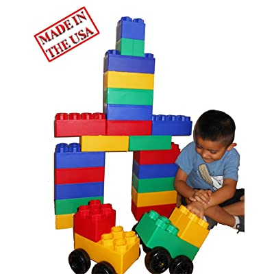 40pc Jumbo Blocks - Big City Playset with Wheels: Toys & Games