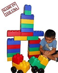 40pc Jumbo Blocks - Big City Playset with Wheels