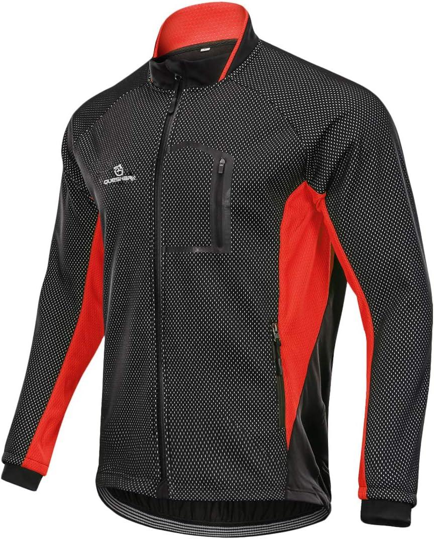 Queshark Chaqueta de Ciclismo Hombre Invierno Ajustados Forro T/érmico C/ómodo de Lana Cortaviento para Invierno Oto/ño