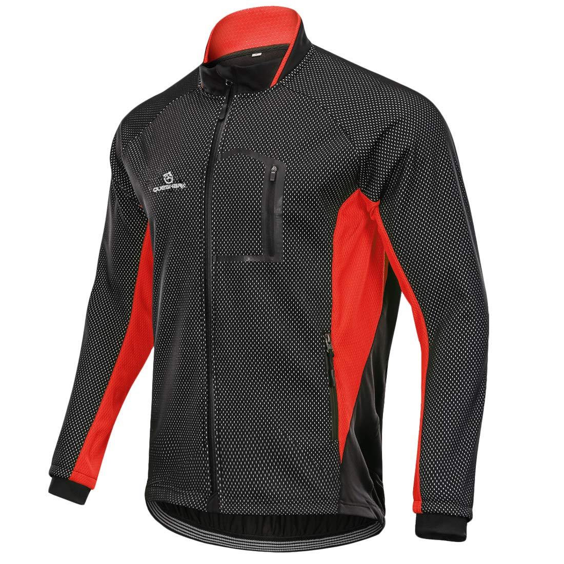 QUESHARK Mens Winter Warm UP Thermal Fleece Softshell Cycling Jacket Windproof