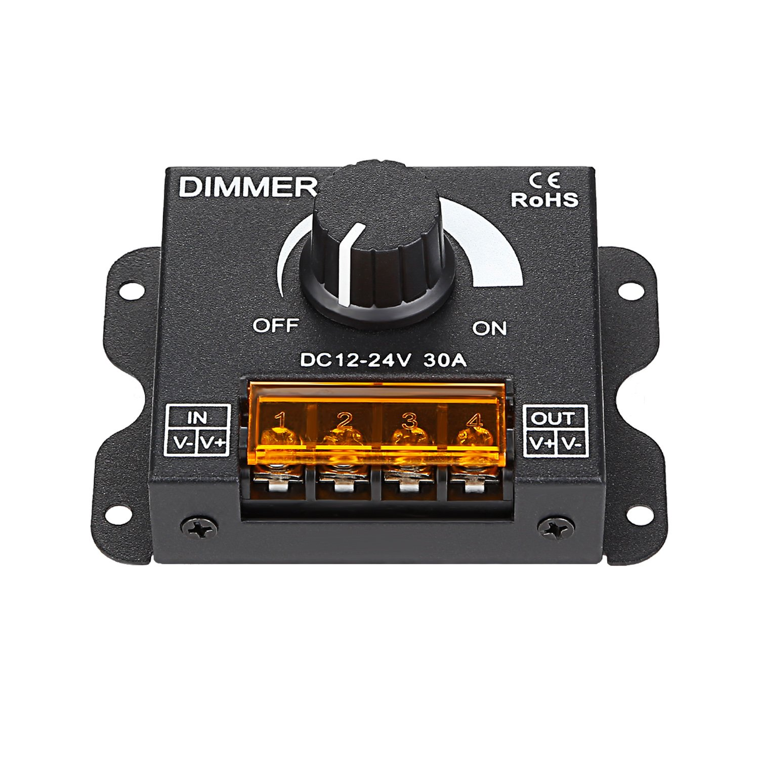 TORCHSTAR PWM Dimming Controller for LED Strip Light, DC 12V - 24V Dimmer Knob ON/OFF Switch with Aluminum Housing, Single Channel 30A 5050 3538 5630 Single Color Light Ribbon by TORCHSTAR (Image #7)