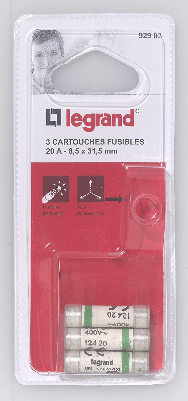 Legrand LEG92903 3 Cartouches Fusibles 20 A 8,5 x 31,5