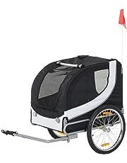 PawHut Pet Bike Trailer Bicycle Dog Cat Carrier Travel Carrier Folding Black