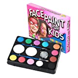 Face Painting Kit for Kids. 12 Colour Party Palette. Best Value Face Paint Set with Professional Quality Facepaint. Brushes, Sponges & Glitter. Great for Parties, Christmas Gift for Boys and Girls