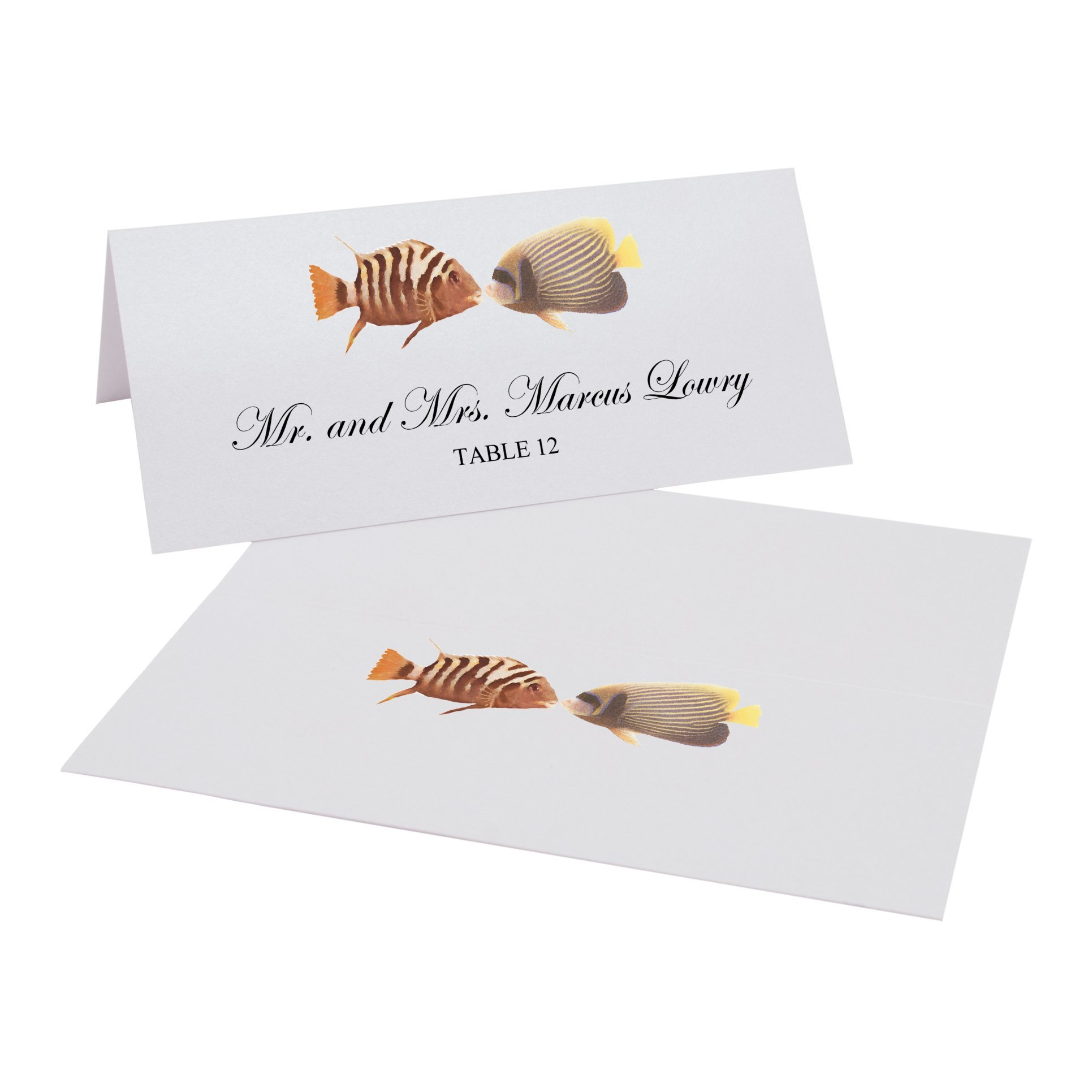Kissing Fish Easy Print Place Cards, Pearl White, Set of 400 (100 Sheets) by Documents and Designs