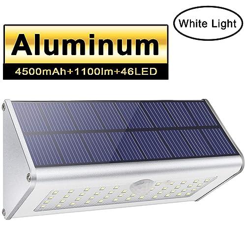 Luces de seguridad solar al aire libre Licwshi 1100lm 46 LED 4500mAh Aleación de aluminio plateado Sensor de movimiento infrarrojo Luces de noche para jardín calle valla patio luz blanca