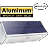 Applique da parete di sicurezza per esterni solari, Licwshi 1100lm 46 LED 4500mAh alluminio Lega di Sensore di movimento senza fili Luci notturne impermeabili per giardino cortile strada-Luce bianca