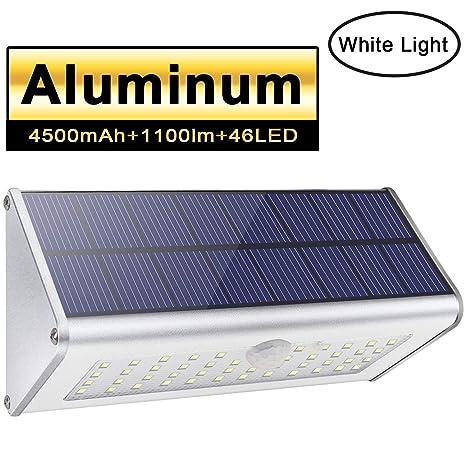 Luces de seguridad solar al aire libre, Licwshi 1100lm 46 LED 4500mAh Aleación de aluminio