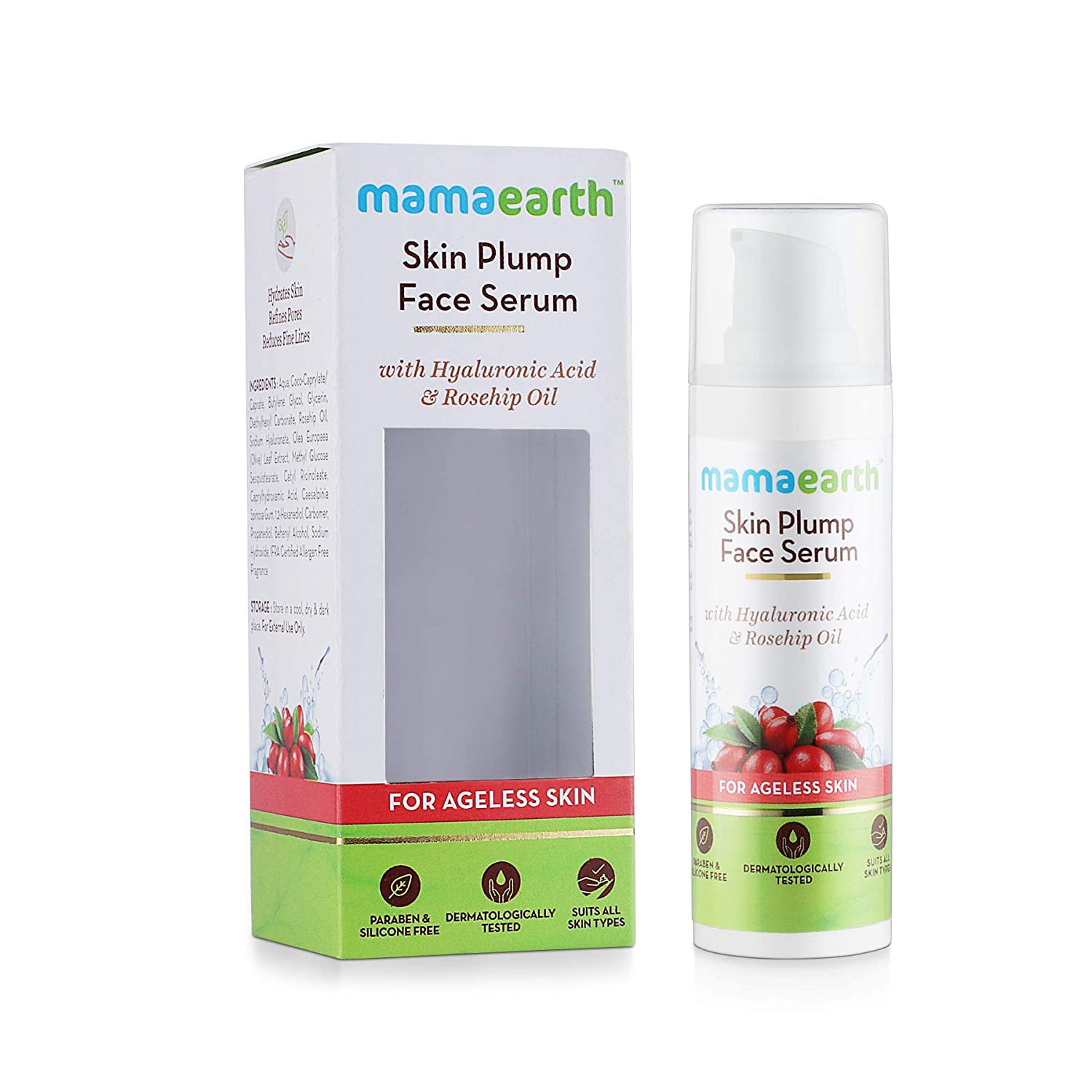 Mamaearth Skin Plump Face Serum Anti Aging Cream For Glowing Skin With Hyaluronic Acid Rosehip Oil For Ageless Skin 30ml Amazon In Beauty