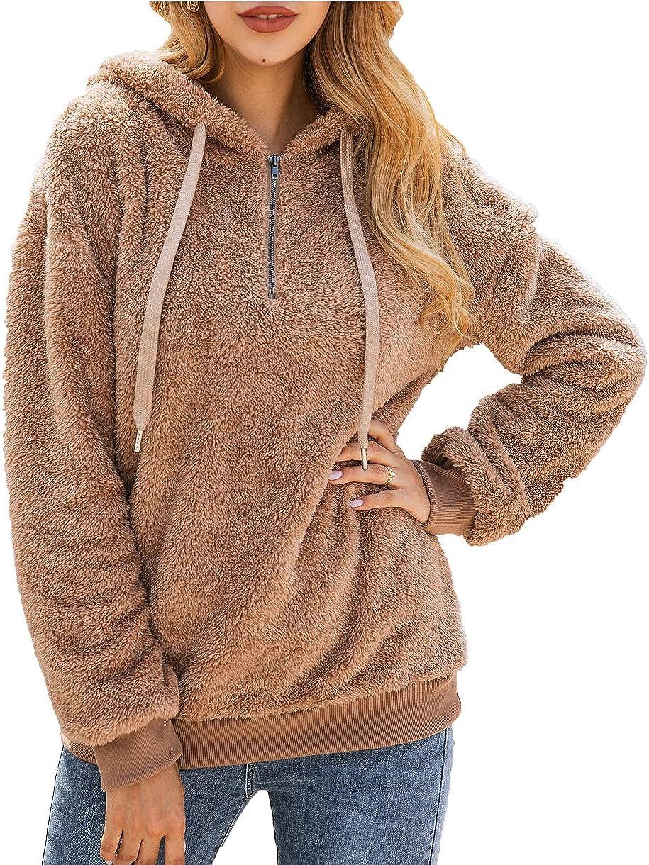 PRETTYGARDEN Women's Long Sleeve Fuzzy Sherpa Fleece Sweatshirt Coat Zipper Hoodie Oversized Pullover Outwear with Pockets