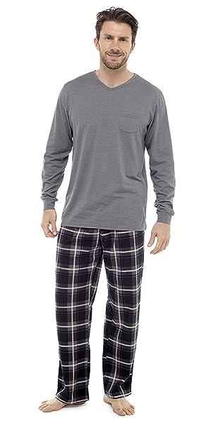 Clothing Unit Conjunto Pijama algodón Hombres Ropa de Loisirs Cepillado Cuadros Franela Invierno Cálido Suéter Pjs