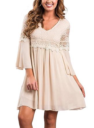 Aleumdr Damen Swing Kleid V-ausschintt mit Floral-Spitze 3 4 Trompetenärmel   Amazon.de  Bekleidung b4bf12109a
