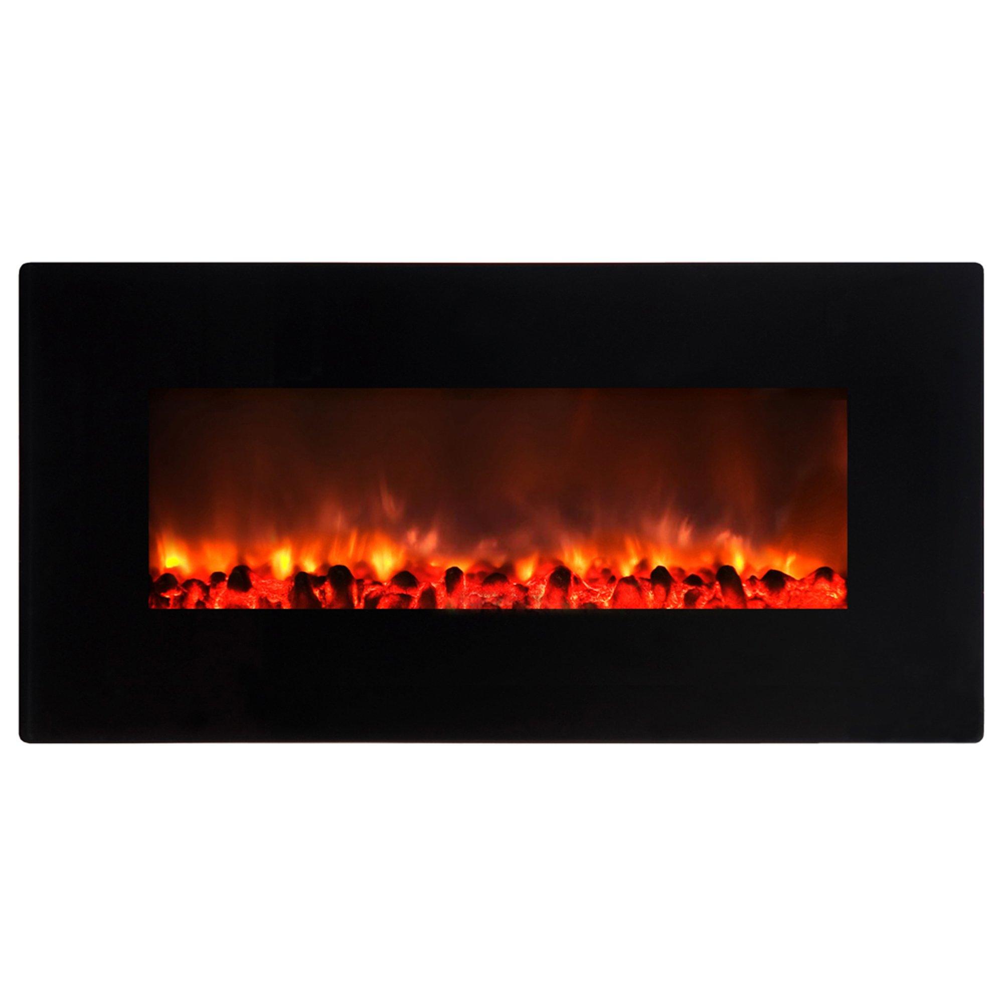Yosemite Home Decor DF-EFP900 Small Glass Wall Hang Electric Fireplace, Black Gloss