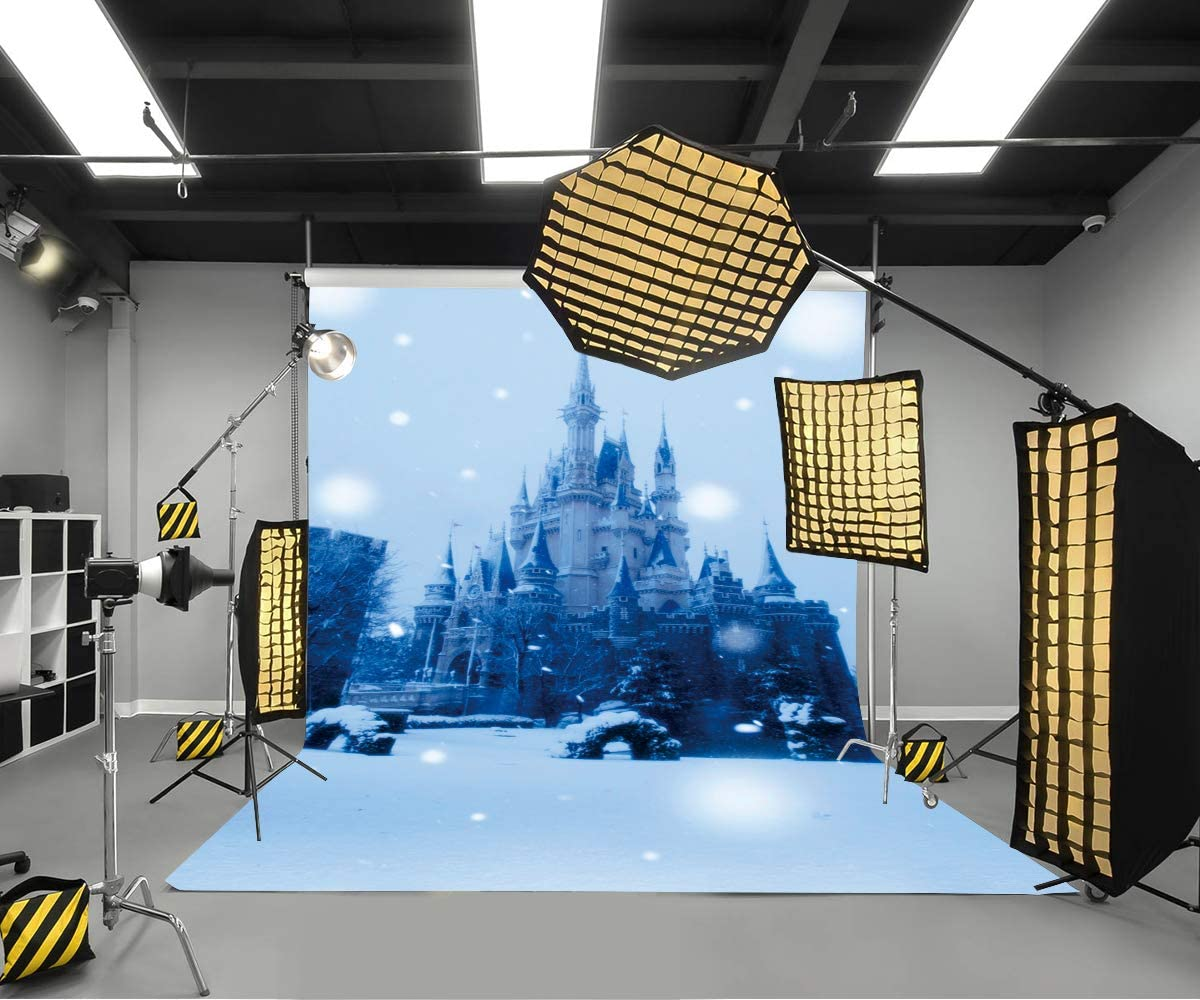 LYLYCTY 5x7ft Snow Scene Backgrounds Big Castle Photography Background Decor Photo Booth Studio Props Wallpaper LYLS1094