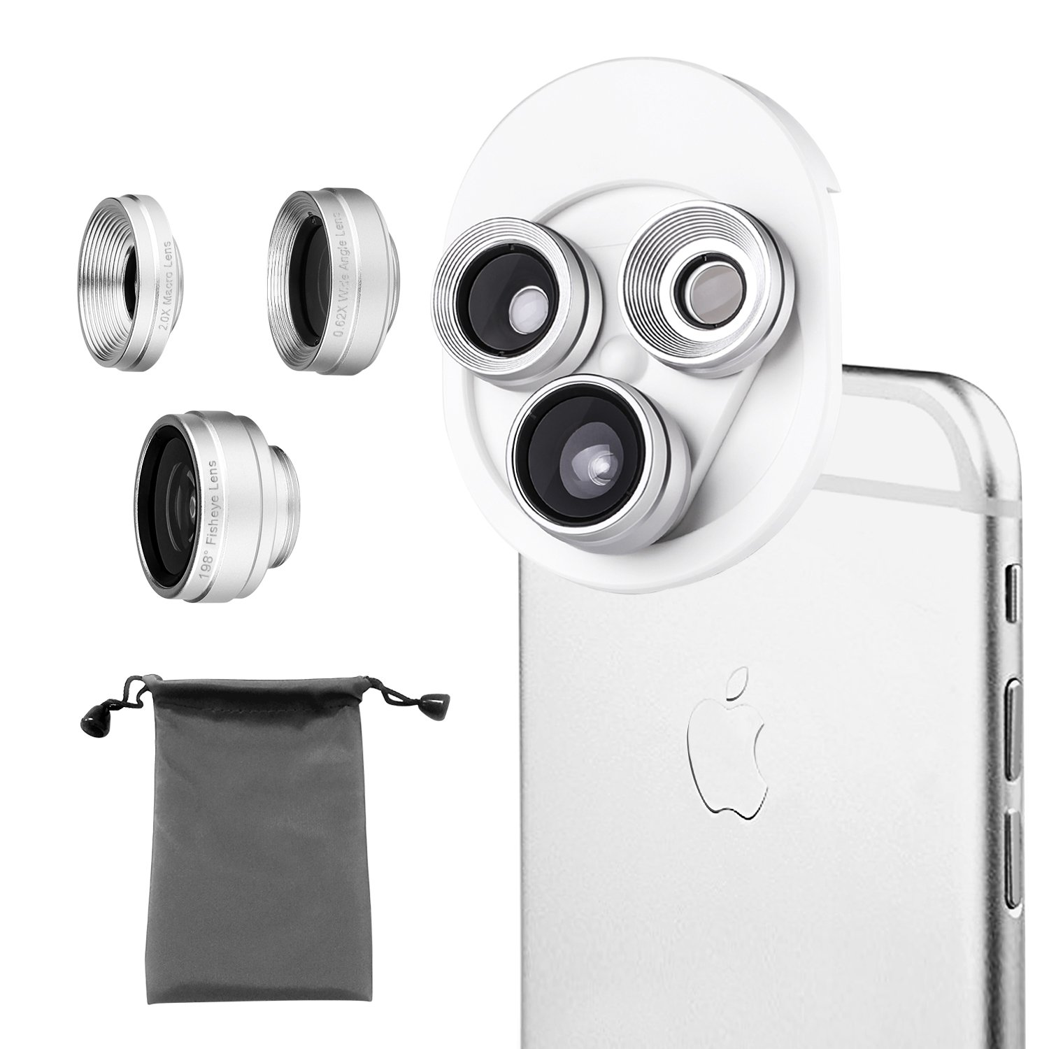 Phone Camera Lens 3 in 1, 20X Macro Lens, 198° Fisheye Lens, 0.62X Wide Angle Lens Clip On Universal HD Cell Phone Lens Kit Compatible Samsung iPhone6S/6Plus/6/Se/5/5S, Android Smartphones and More