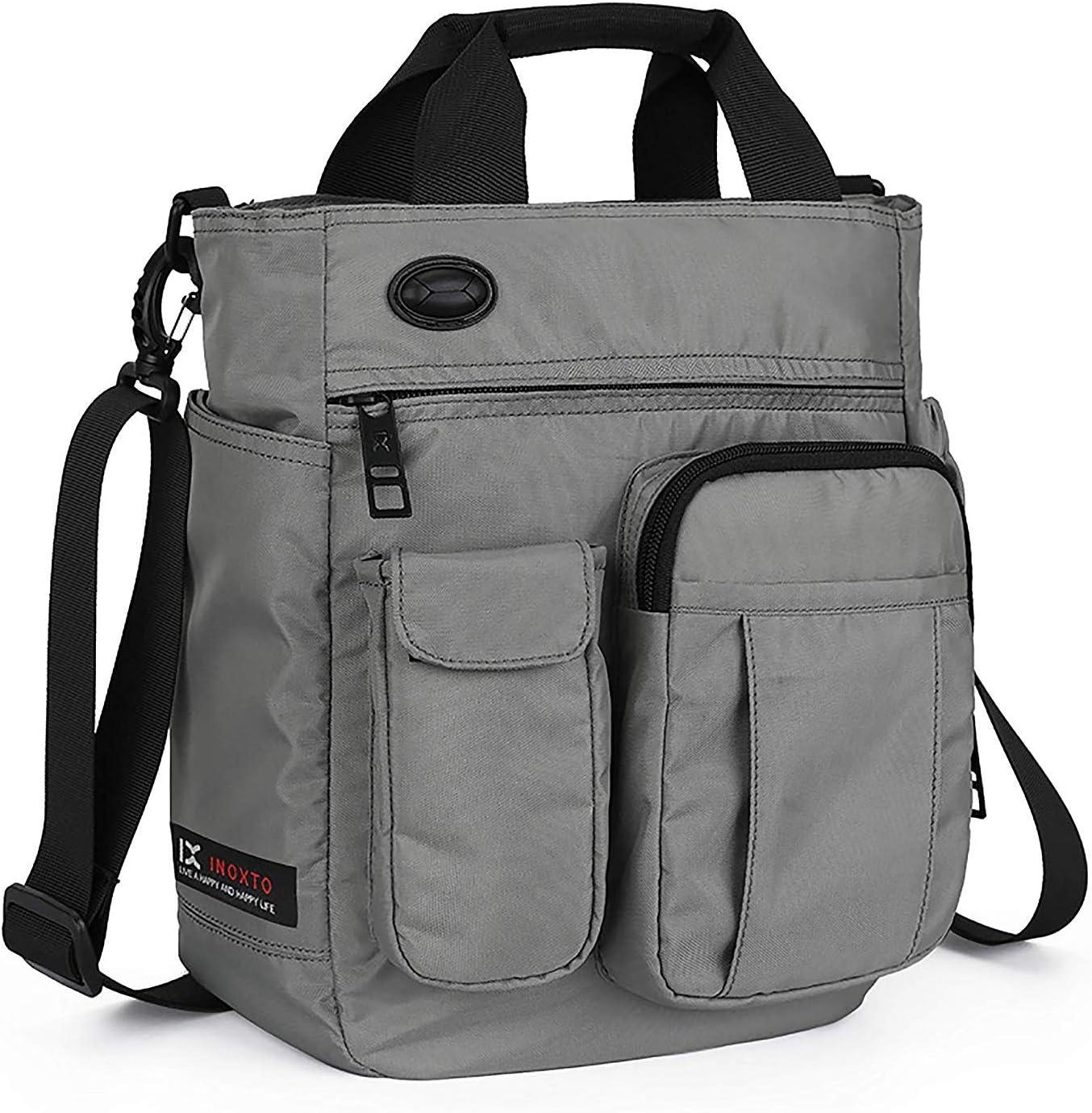 Crossbody Messenger Bag, Multifunctional Shoulder Bag, Laptop Bag for for Men and Women College School Business Sport Travel (Gray)